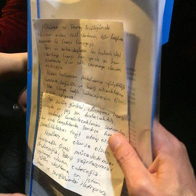 Demirtaş'tan el yazısıyla mesaj