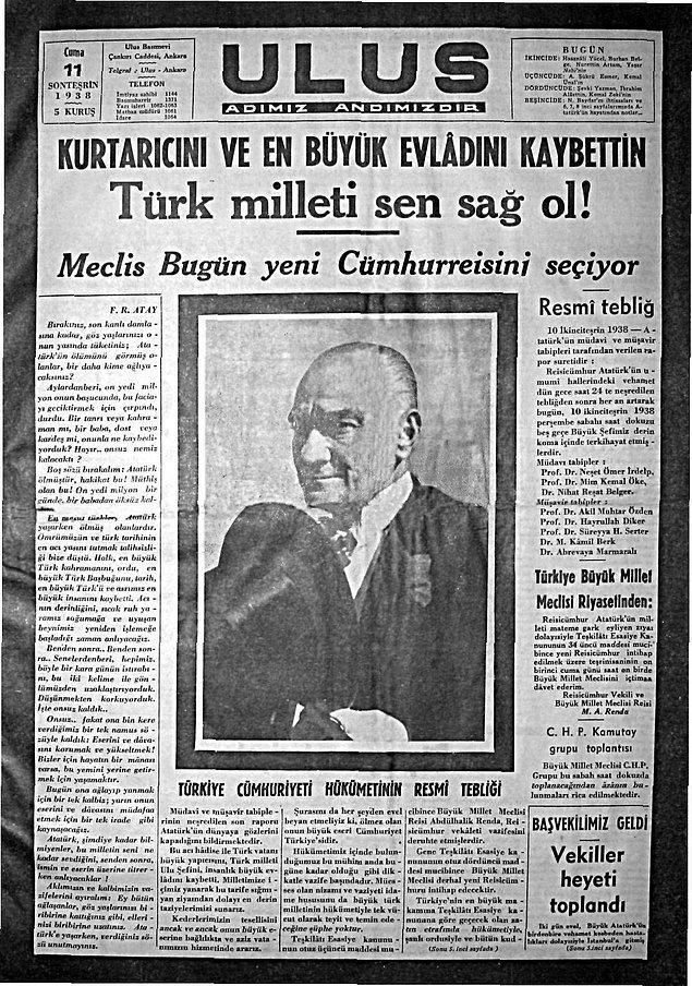 Atatürk'ün Ölümü - 10 Kasım 1938