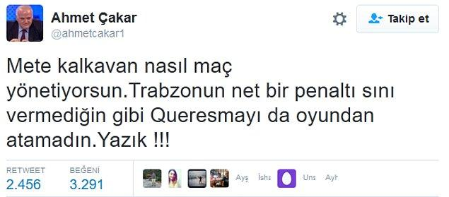2. Ahmet Çakar'ın hakeme tepkileri;