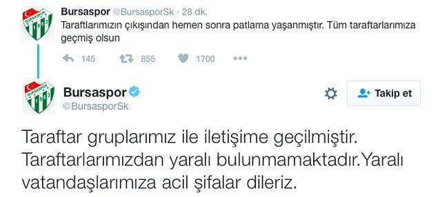 """Bursaspor, """"Taraftarlarımızdan yaralı bulunmamaktadır"""" açıklamasını yaptı"""