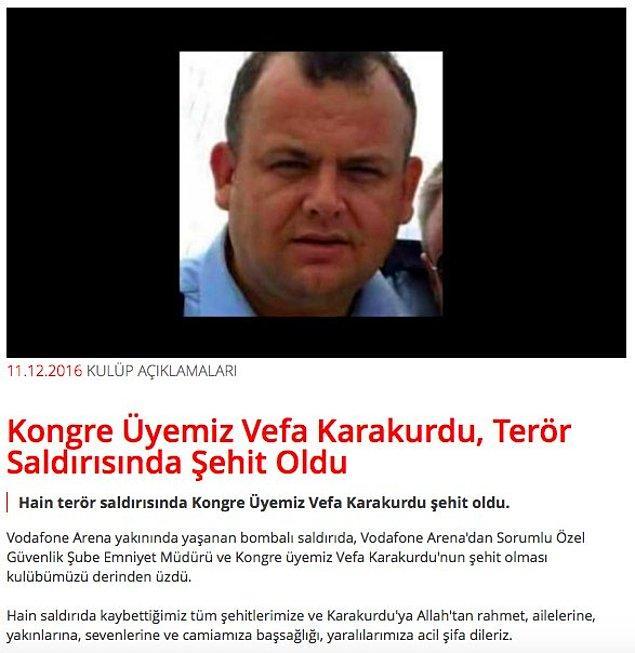 Beşiktaş, Kongre Üyesi ve Kartal Yuvası çalışanının şehit olduğunu açıkladı