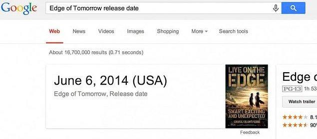 11. Veya sevdiğiniz bir filmin gösterime girdiği tarihi öğrenmek istediniz... Yine Google'a sorun, yine halleder.