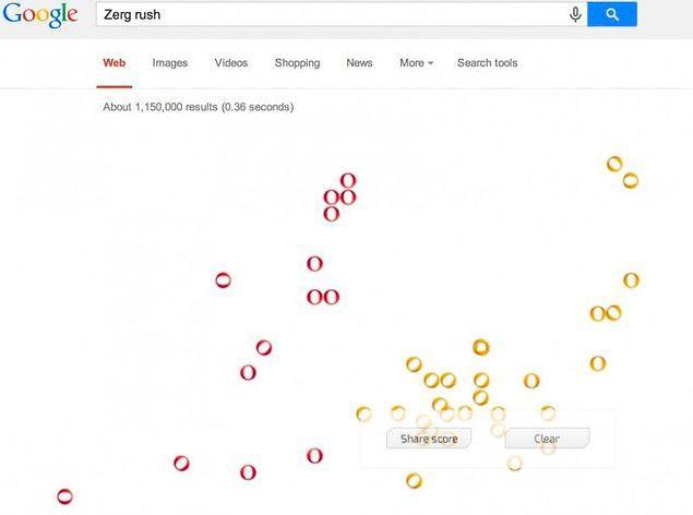 Стало скучно? Можно поиграть! Zerg Rush - только одна из многочисленных игр на Google.