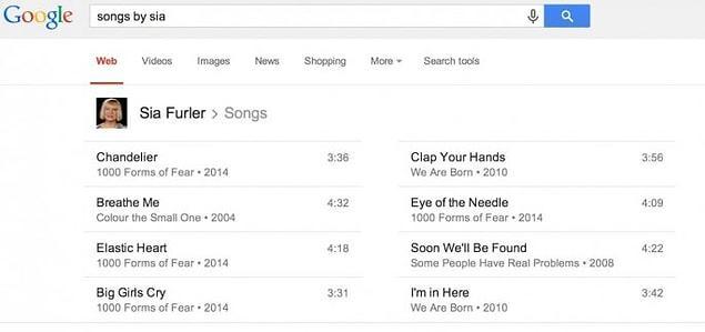 С музыкой у Google тоже полный порядок. Отыщет любую песню или клип.