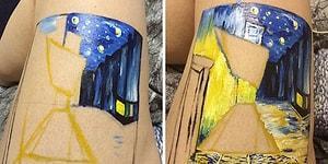Девушка воссоздала картину Ван Гога на своей ноге вместо того, чтобы поранить себя