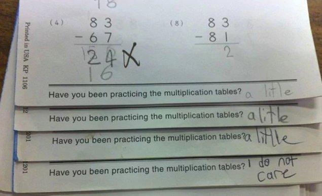 16. Ve verdikleri ev ödevlerine bu tarz cevaplar alırlar.