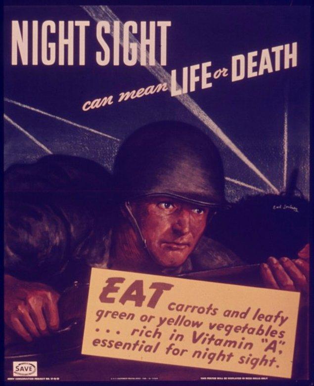 """Propaganda sırasında halka da bol bol havuç yemeleri yönünde mesajlar veriliyor, böylece """"karartma"""" durumlarında geceleri etraflarını daha iyi görebilecekleri söyleniyordu."""