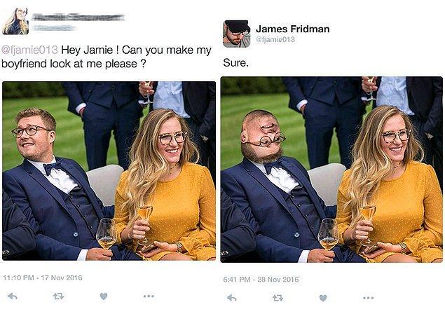 15. Selam Jamie, erkek arkadaşımı bana baktırır mısın?