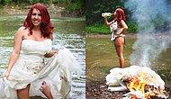 Женщина отпраздновала развод, устроив фотосессию с сожжением свадебного платья