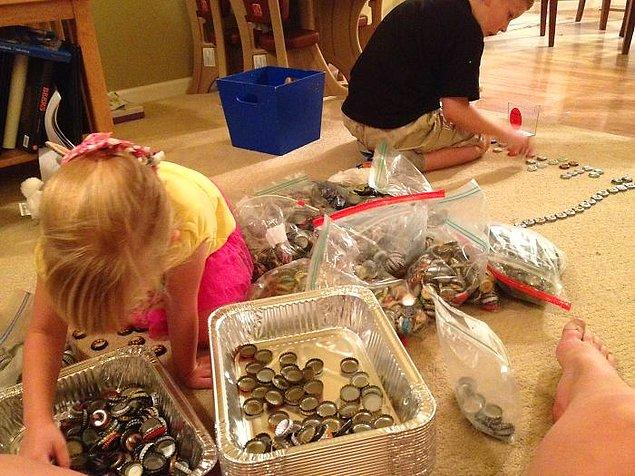 He and his friends and family saved 2,530 beer caps over 5 years specifically for this project.