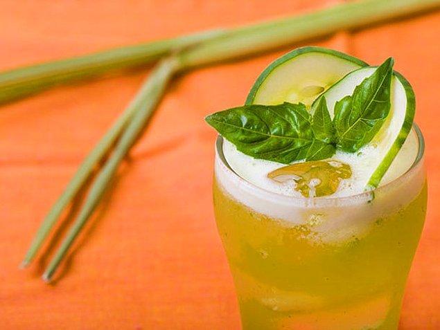 6. Limon+Salatalık+Toz Şeker+Su+Fesleğen