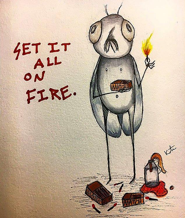 Yoğun hisler yaşadığını, sesler duyduğunu ve duyduğu seslerin ona 'eşyaları ateşe vermesini' söylediğini anlatıyor.