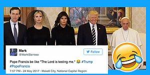 Pope Francis Looking Super Sad With The Trumps Is About To Become Your Next Favorite Meme!