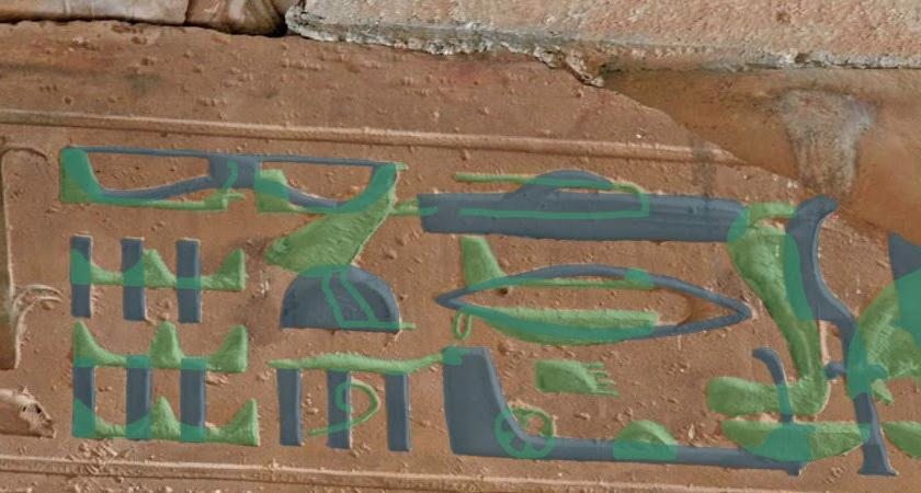 Hieroglyphs of helicopters and submarines another