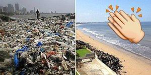 В Индии добровольцы очистили пляж от 5 тысяч тонн мусора