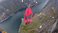 Захватывающий дух бейсджампинг на плато Кьёраг в Норвегии