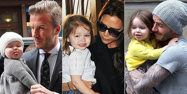 """Beckham'ın 38 milyon takipçili Instagram hesabında paylaştığı """"Kiss for daddy (Babaya öpücük)"""" açıklamalı fotoğraf sevgisinden başka birşeyi anlatmıyordu."""