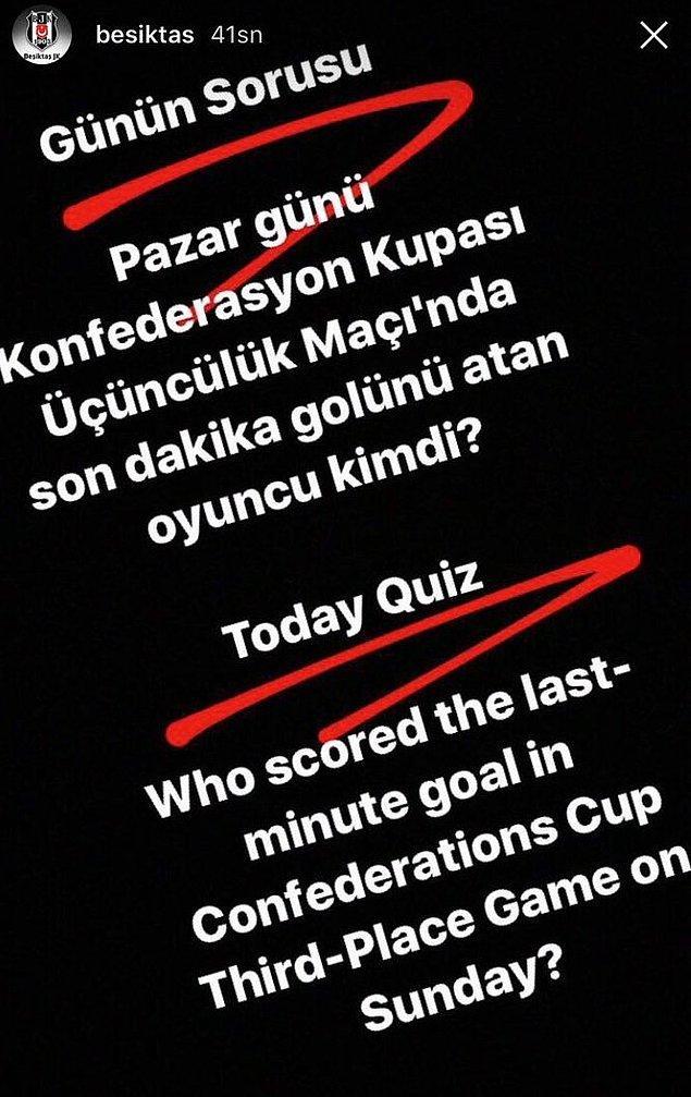 İlk önce Beşiktaş, Instagram'da bu hikayeyi paylaştı.