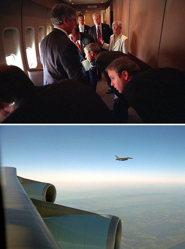 11. George Bush ve ekibi, Louisiana'daki Barksdale Hava Üssü'ne giderken, Air Force One'ın pencerelerinden F-16 eskortlarına bakıyor.