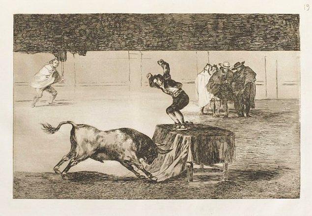 Francisco de Goya'nın boğa güreşi gravürü Fransız şatosunda bulundu