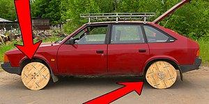 """Россиянин прикрутил к своему """"москвичу"""" деревянные колеса, и все закончилось плохо"""