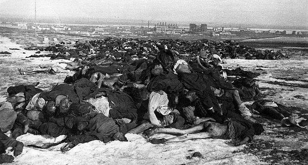 2. Stalingrad eteklerinde üst üstte yığılmış ölmüş Alman askerleri, 1943.