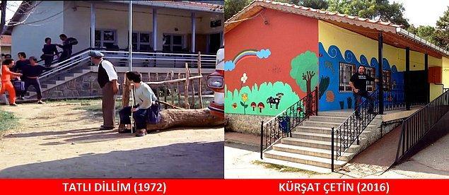 7. TATLI DİLLİM (1972) Köye gelen İstanbullu basket takımının kaldığı okul. Yer: Boğazköy/ İstanbul