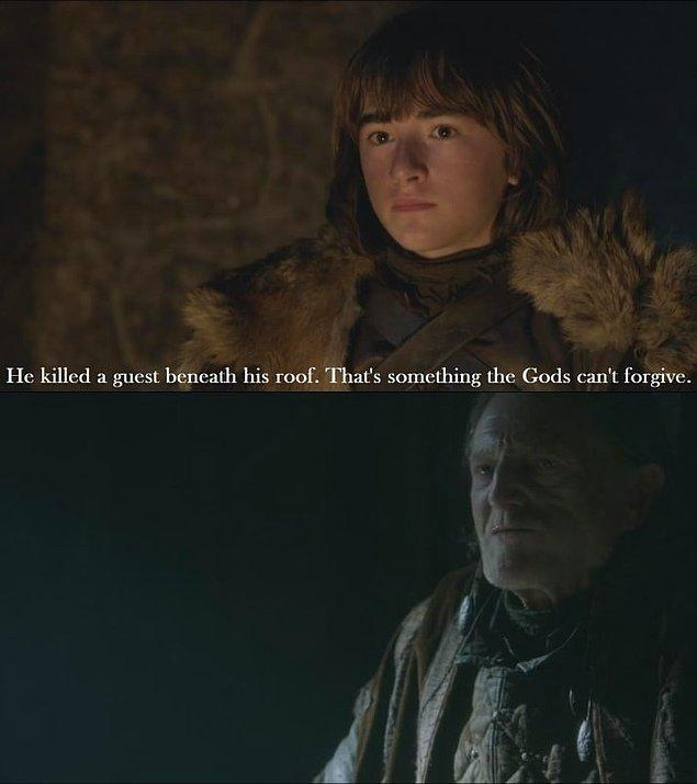 1. Kızıl düğünden bir sonraki bölümde, Bran aşçı farenin hikayesini anlattı ve şöyle söyledi: