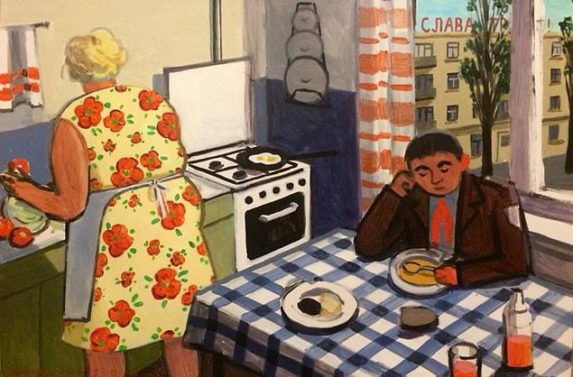 Типичное утро в советской семье