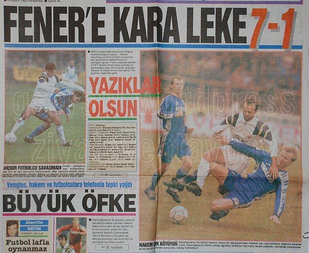 1. 1992-93 sezonu UEFA Kupası 2. Tur eşleşmesinde Fenerbahçe, tarihinin en ağır Avrupa yenilgilerinden birini aldı.