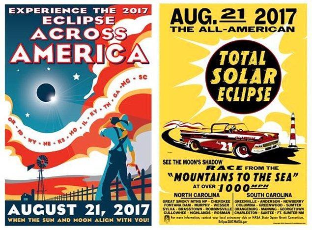 Aşağıdaki posterler gökbilimci ve sanatçı Tyler Nordgren tarafından güneş tutulması için hazırlandı 👇