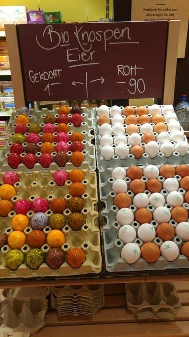 5. Katı yumurtaları tazelerinden ayırt edebilmeniz için boyayan market.