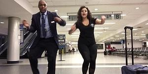Женщина опоздала на рейс и заставила всех вокруг танцевать