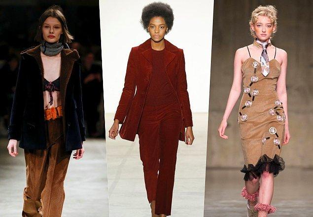 Bu sonbahar birçok moda haftasında boy gösterişinde de anlaşılacağı üzere fitilli kadife sandıklardan çıkarak yeniden moda oluyor.