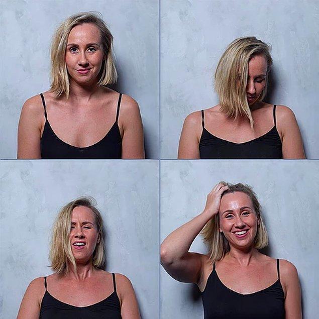 4. Bir kişinin 4 ayrı fotoğrafından oluşan çalışmada kişilerin hızlı ya da yavaş şekilde orgazm olmasıyla değişen mimiklerini yakaladı.
