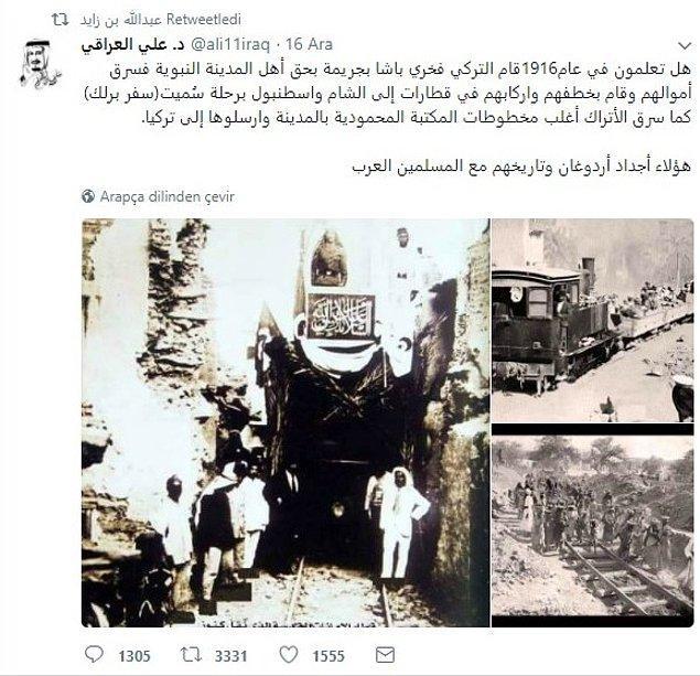 Abdullah b. Zayed bu tweetinde Fahreddin Paşa'nın 1916'da bölge ahalisine zulmettiğini ve Medine'den çekilirken birçok eseri kaçırttığını ileri sürüyordu.