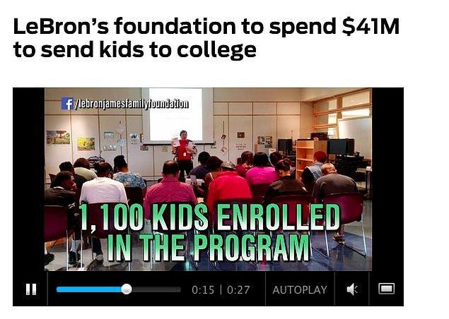 7. Kendisi aynı zamanda en çok bağış yapan atletlerden bir tanesi. Kurduğu kuruluş, programını tamamlayan her çocuğu üniversiteye göndermek için 41 milyon dolar söz verdi.