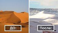 Верблюды в шоке: Третий раз за 40 лет в пустыне Сахара выпадает снег!