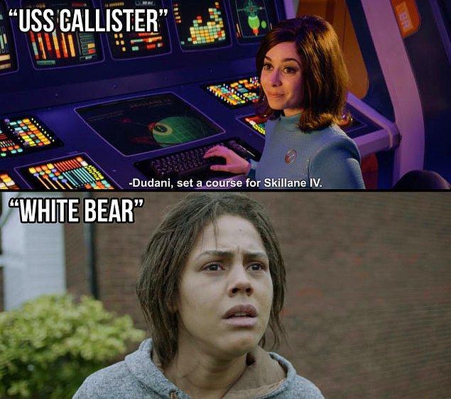 """5. Ayrıca bu bölümdeki bir gezegenin adı """"Skillane IV."""" ve Victoria Skillane ise """"White Bear"""" bölümündeki ana karakterin ismiydi."""