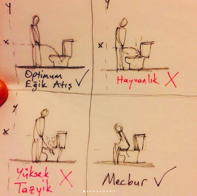 Tuvaletlerle bu kadar içli dışlı olan hesabın sahibi bir de teorem geliştirmiş. Optimum Ayakta İşeme Teoremi (OAİT)