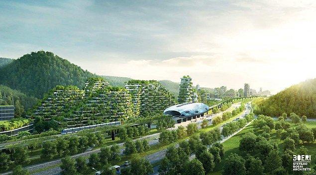 Liuzhou Orman Şehri, birkaç yıl içinde inşaası bitecek 40.000 ağaç, 1 milyon bitki ve 30.000 insana ev sahipliği yapacak.