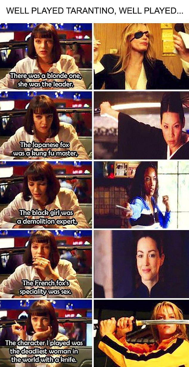 2. Pulp Fiction filminde Kill Bill'e yapılan gönderme her bir karakter için söylenmiş sözler ile gizli gizli yapılmış.