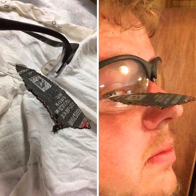 3. Güvenlik gözlükleri, avuç taşlama makinesinden çıkan diskten korumuş bu adamı. 😱