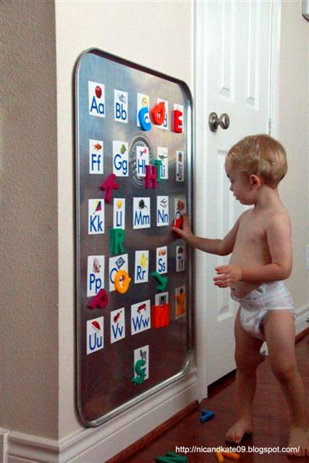 15. İster mıknatıslı ister yapışkan kumaşlı olarak hazırlayabileceğinizi alfabe tahtası. Arzu ederseniz aynısını rakamlar ile de yapabilirsiniz.