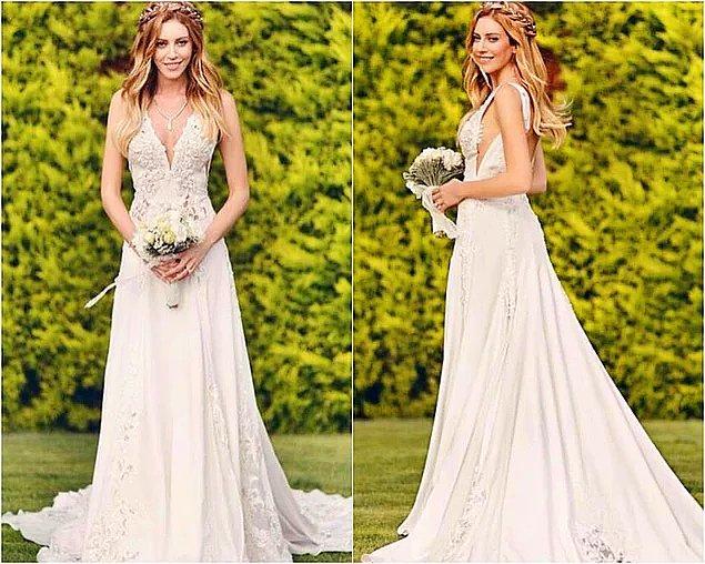 Kenan İmirzalıoğlu ile evlenen güzel oyuncunun gelinliği çok beğenilmişti.