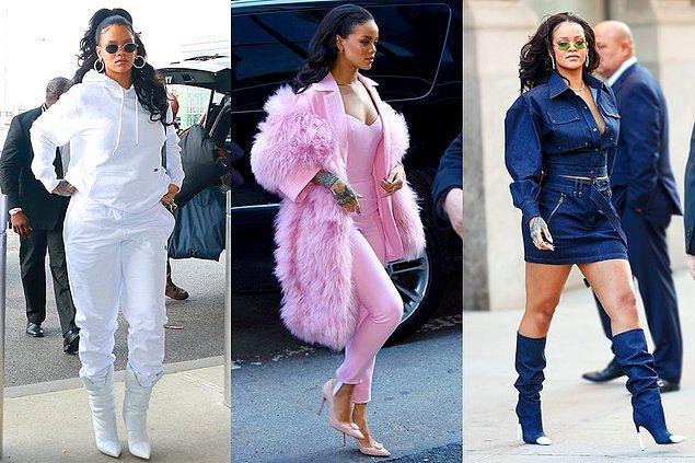 Renklerin kahramanı Rihanna, monokrom stiliyle de fark yaratıyor. Beyazlar, pembeler, maviler onun stilinde, ne yalan söyleyelim, adeta can buluyor.