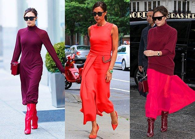 Victoria Beckham'ın tercihi ise sıklıkla kırmızıdan yana oluyor. Kendi tasarımlarında da kullandığı monokrom modası Beckham'ın zarif stiliyle eşsiz bir görüntü oluşturuyor.