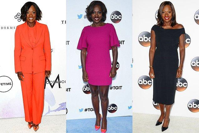 Viola Davis ise her kırmızı halıda farklı, cesur ve canlı bir renkle karşımıza çıkıyor. Kombinlerinizin kesimi nasıl olursa olsun monokromla keskin ve zarif görüneceksiniz diyor adeta!
