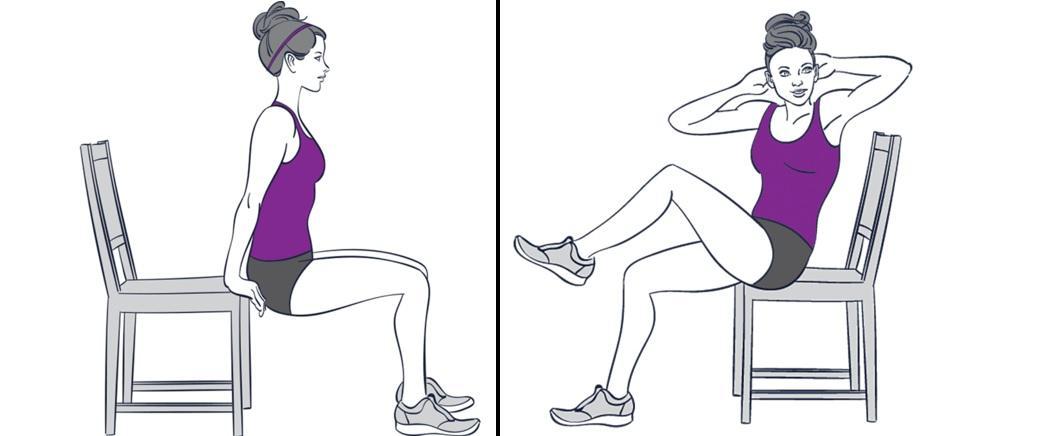 Упражнения для похудения живота сидя на работе
