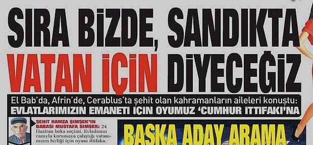 Sabah Gazetesinin Şehitleri Seçime Alet Eden Manşetine Tepki Yağıyor: 'Bundan Büyük Utanç Olamaz'